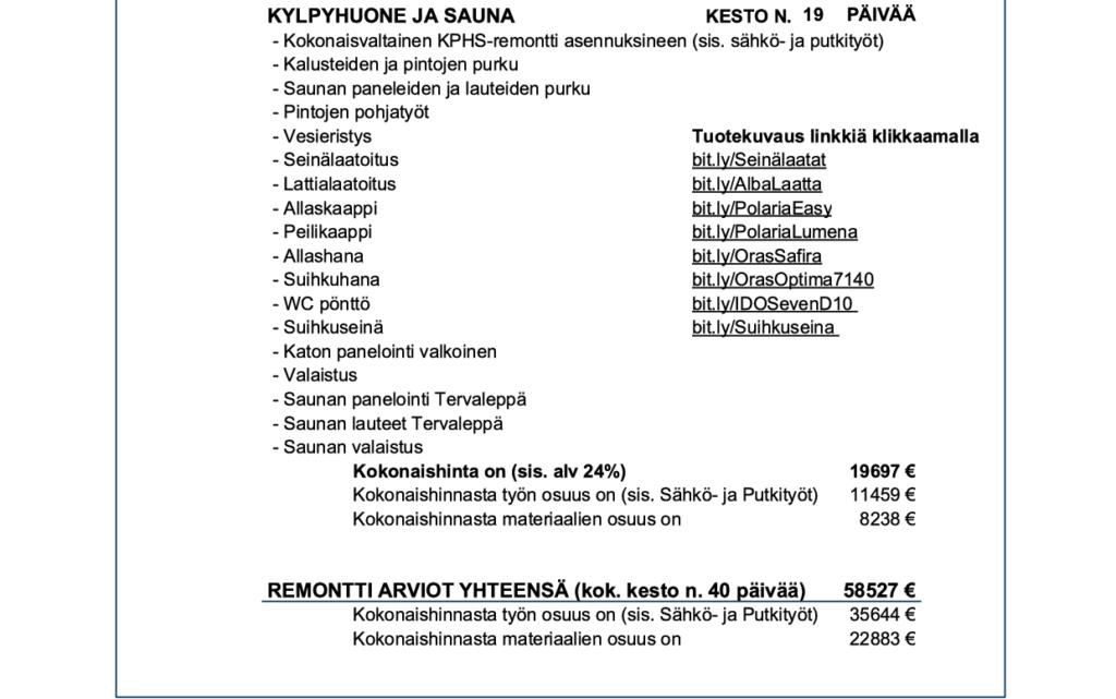 Esimerkki Remonttivelhot Oy:n hinta-arviosta remontille.